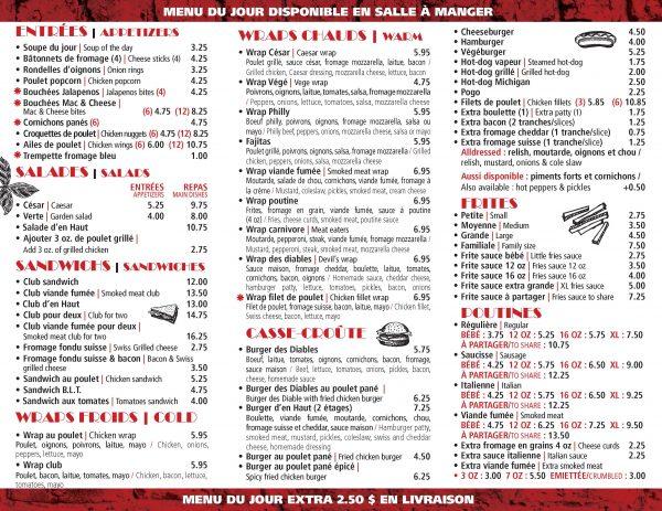 Casse-Croûte-d-en-Haut - Menu livraison | Delivery Menu